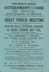 Advertisement for a political meeting at the Exeter Hall